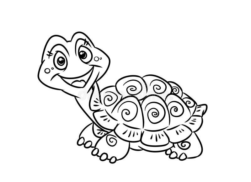 De kleurende pagina's van de schildpadpret stock illustratie