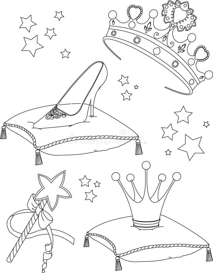 De kleurende pagina van Collectibles van de prinses vector illustratie