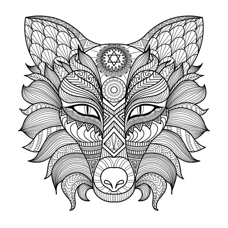 De kleurende pagina van de detail zentangle vos vector illustratie