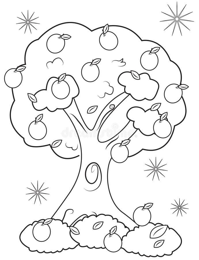 De kleurende pagina van de fruitboom stock illustratie
