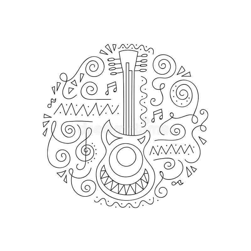 De kleurende pagina van de krabbelgitaar vector illustratie