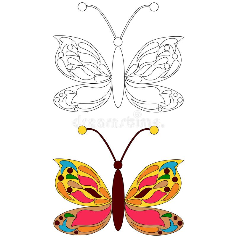De kleurende pagina van de vlinder royalty-vrije illustratie