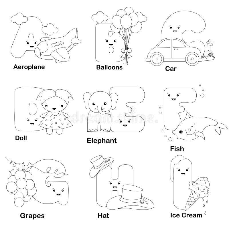 De kleurende pagina van het alfabet vector illustratie
