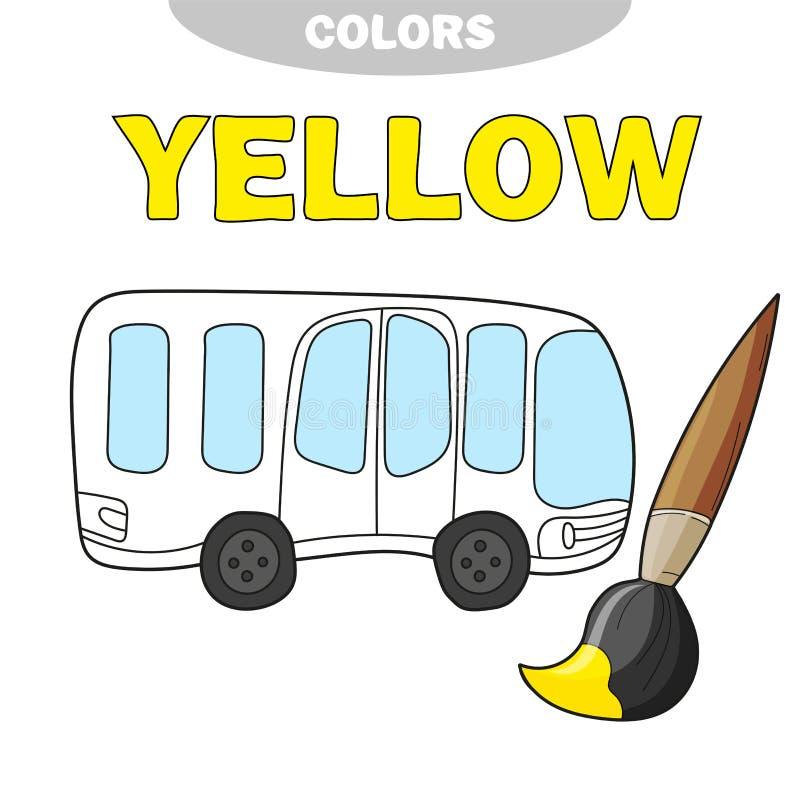 De kleurende pagina van de schoolbus, terug naar schoolconcept, de vector van de jonge geitjesschool stock illustratie