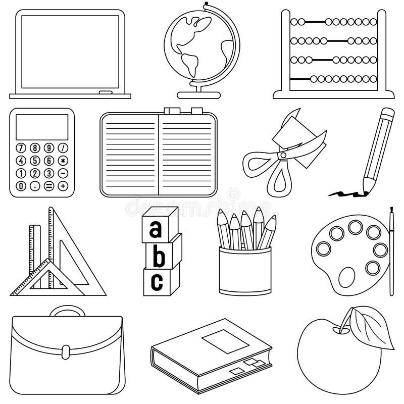 De kleurende Pictogrammen van de School vector illustratie