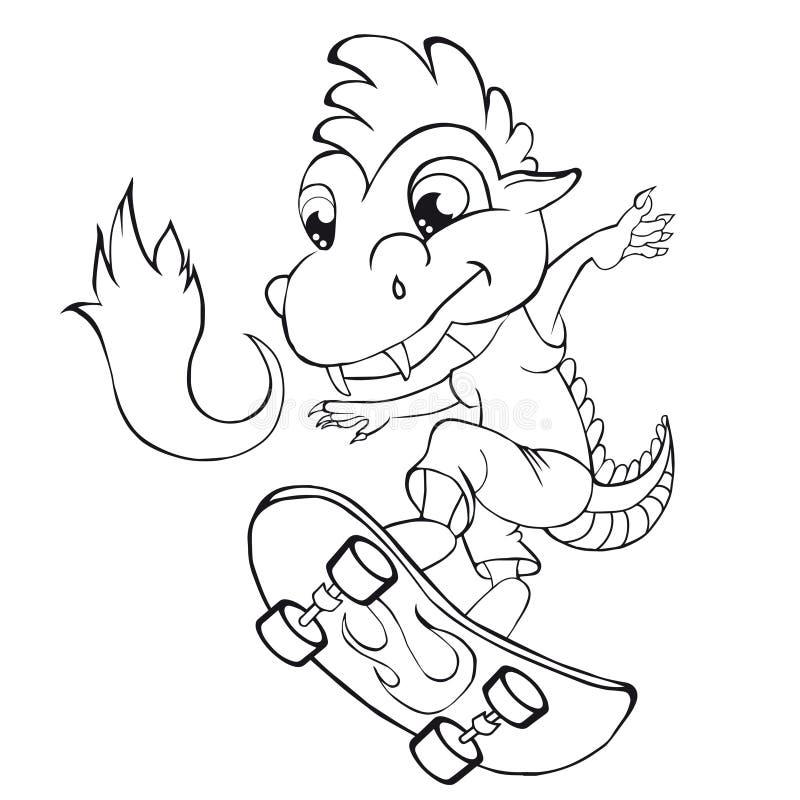 De kleurende schaatser van de boekdraak Klemkunst voor kinderen royalty-vrije illustratie