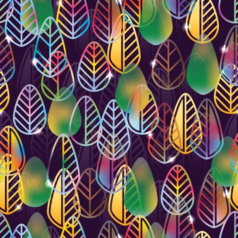 De kleureneffect van de bladvorm naadloos patroon vector illustratie