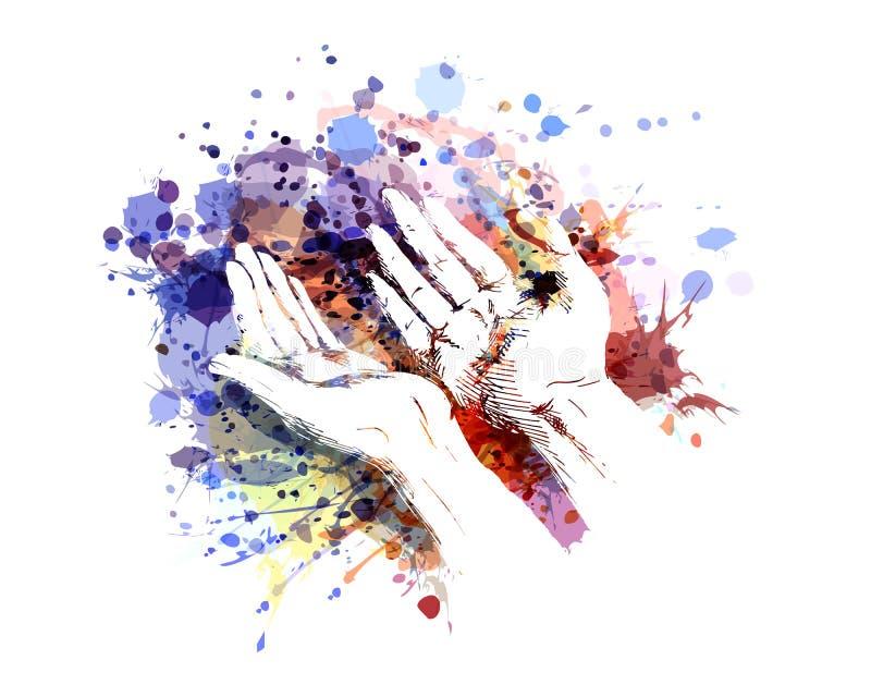 De kleurenillustratie van het bedelen overhandigt stock illustratie