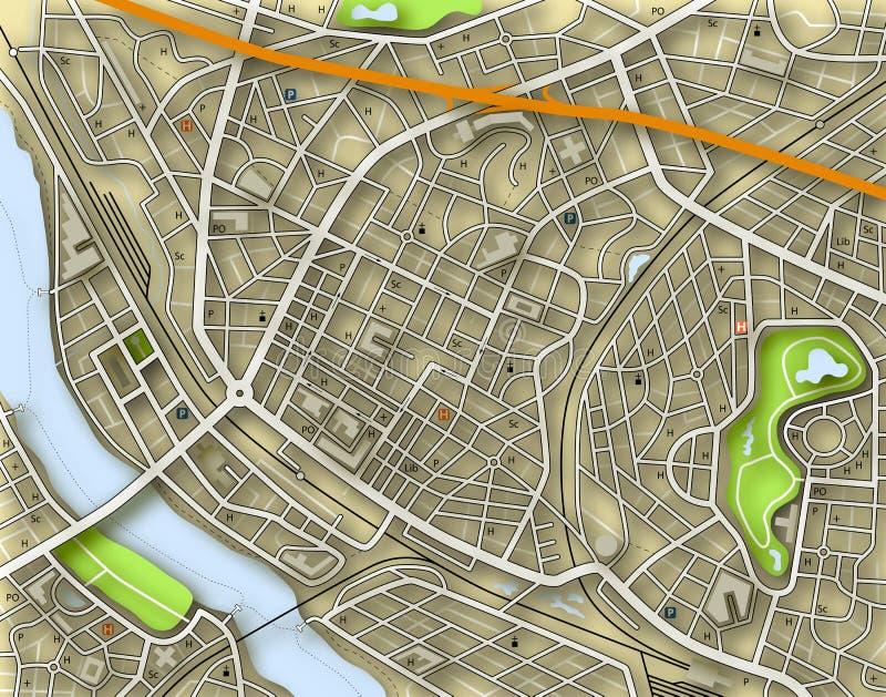 De kleurenkaart van de stad stock illustratie