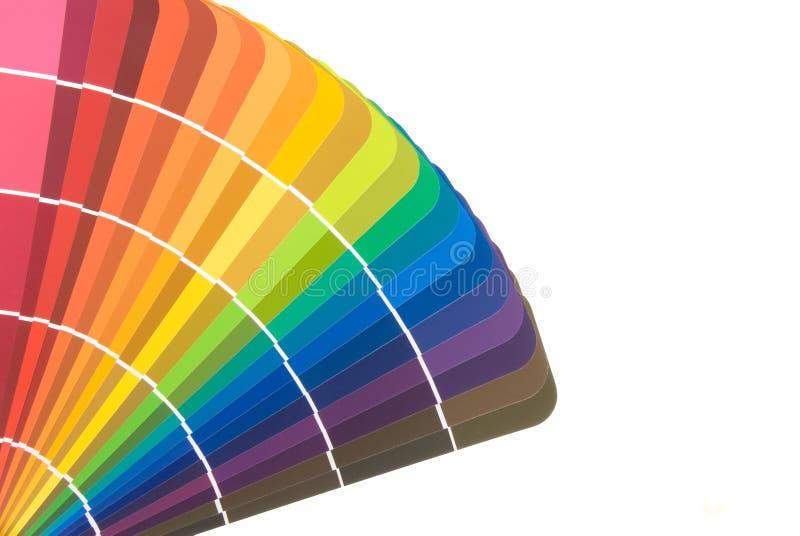 De kleurenkaarten en borstel van de verf royalty-vrije stock foto