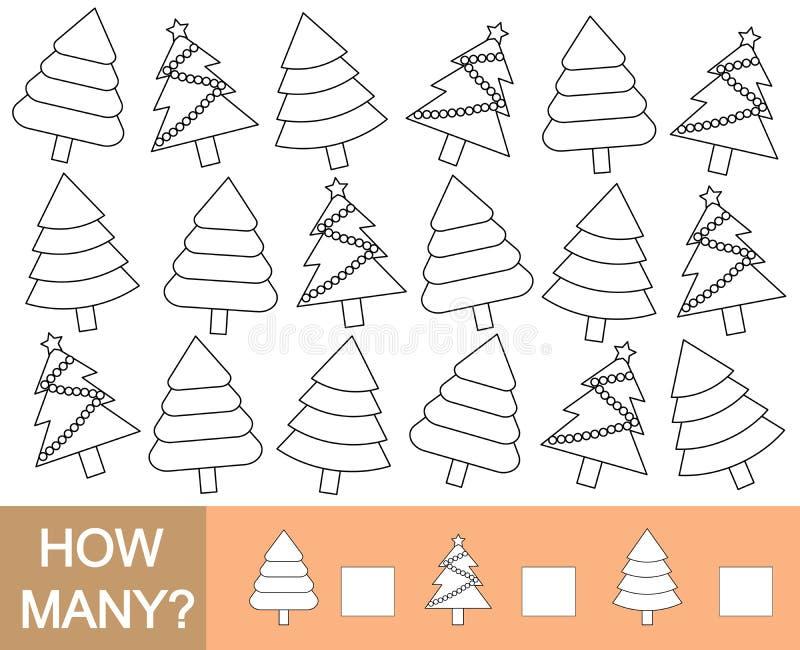 De kleurenkerstboom en telt hoeveel Wiskundig spel voor c stock illustratie