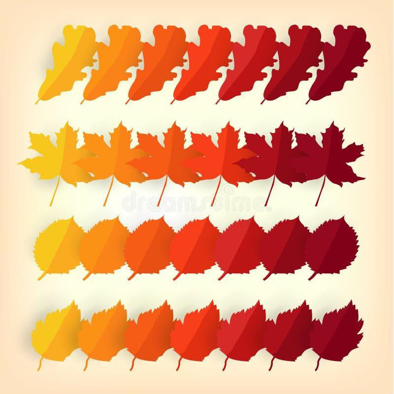 De kleurenmonster van het de herfstblad Het seizoenconcept van de herfst Handen die rode handschoenen dragen die een boeket van g stock illustratie