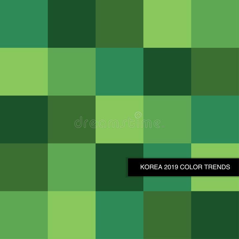 In de Kleurenpalet van Forest Green 2019 als abstracte naadloze achtergrond royalty-vrije illustratie