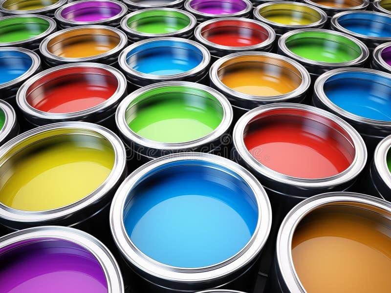 De kleurenpalet van verfblikken