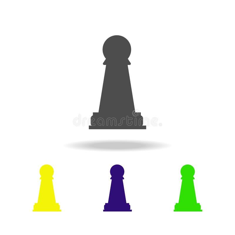 de kleurenpictogram van het schaakpand Element van schaak voor mobiele concept en Web apps illustratie Het dunne pictogram van de royalty-vrije illustratie