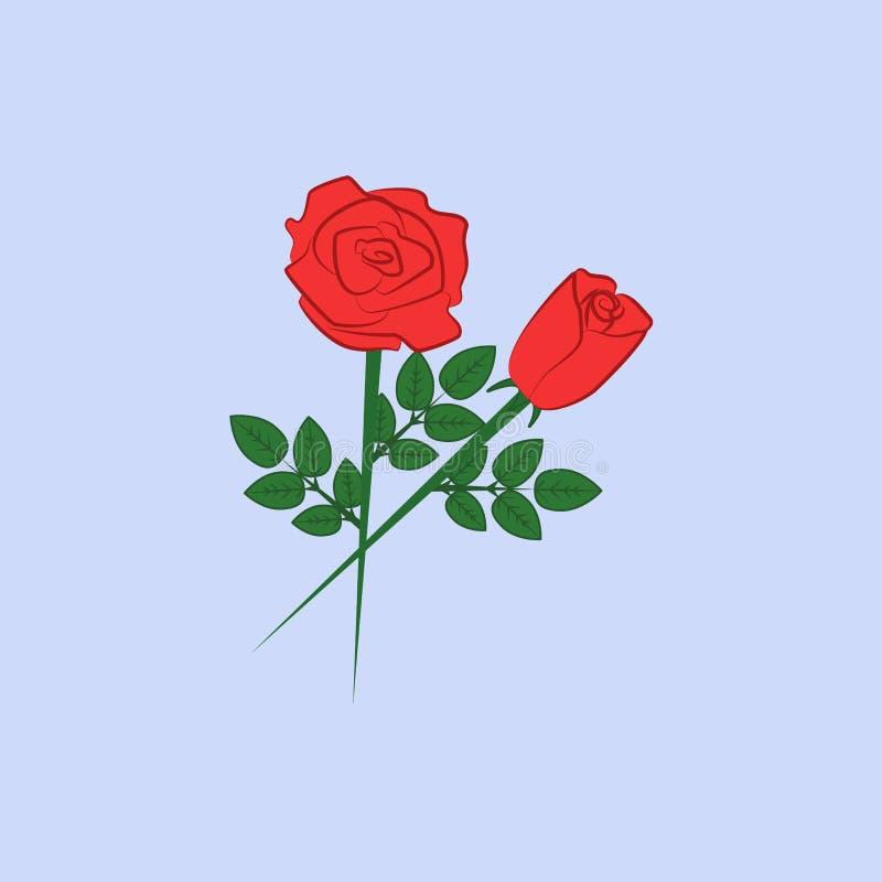 De kleurenpictogram van rozen rood bloemen Element van gekleurd mooi bloemenpictogram voor mobiel concept en Web apps Rode bloeme stock illustratie