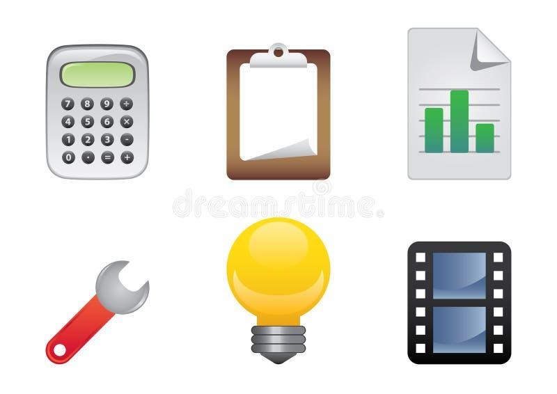 De kleurenreeks 3 van pictogrammen stock illustratie