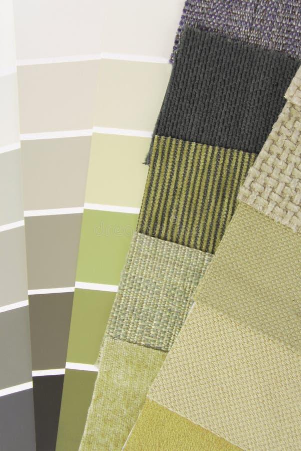 De kleurenselectie van het stofferingstapijtwerk stock foto's