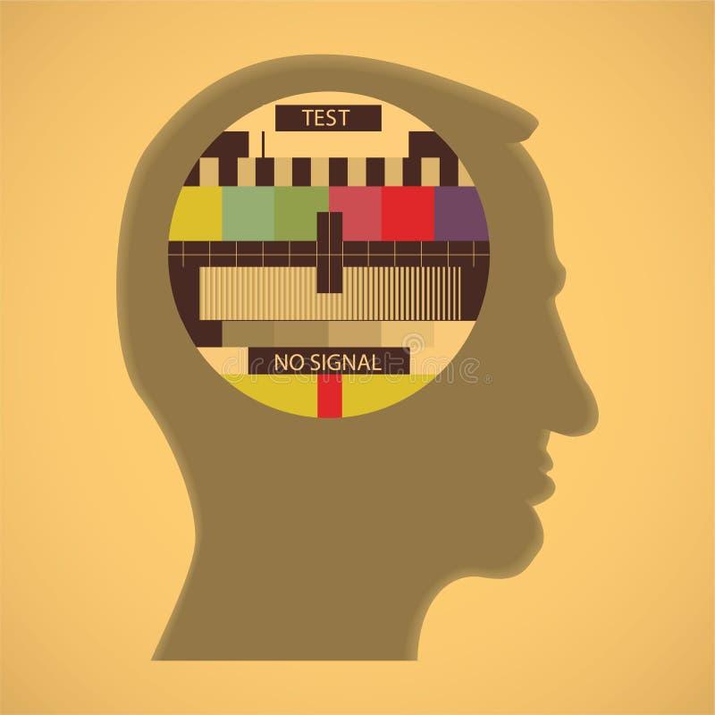 De kleurentest van TV in hoofd royalty-vrije illustratie