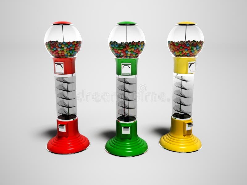 De kleurenvakken in het kamperen voor verkoopronde het kauwen 3d suikergoed geven op grijze achtergrond met schaduw terug royalty-vrije illustratie