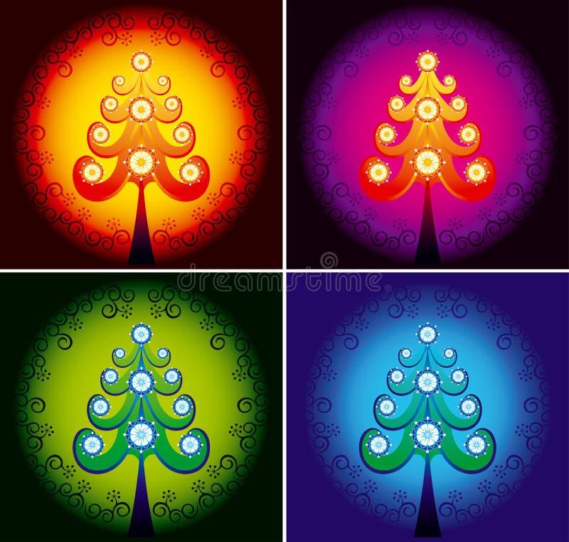 De kleurenvector van de kerstboom royalty-vrije illustratie