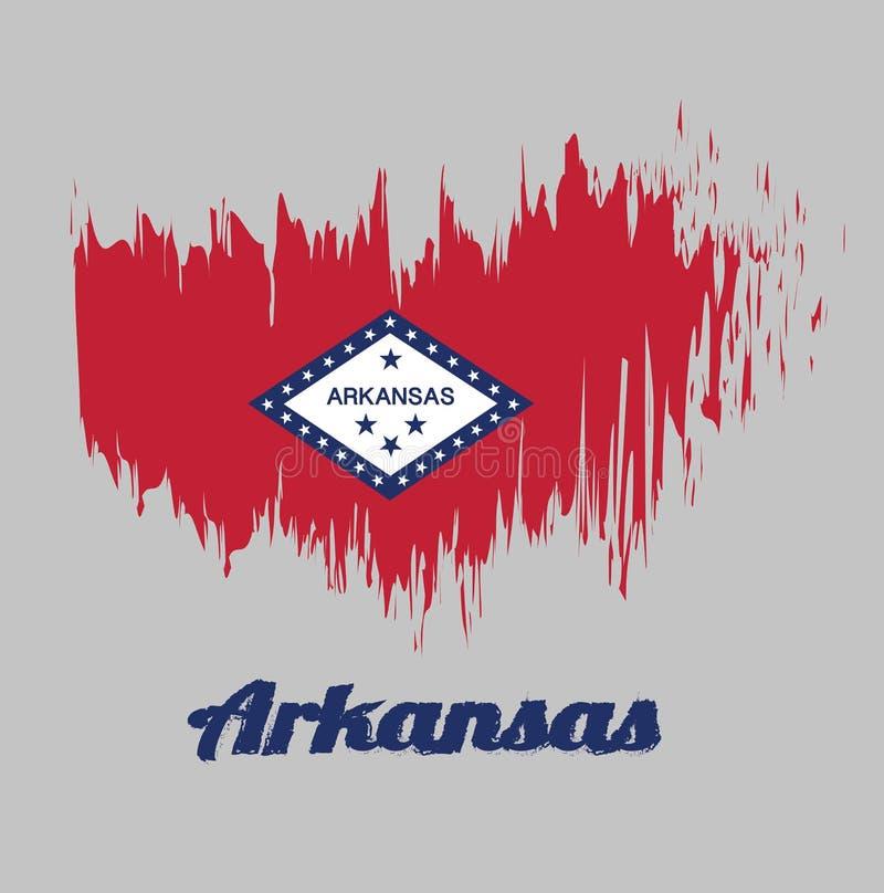 De kleurenvlag van de borstelstijl van Arkansas, het rechthoekige gebied van A van rood, een grote witte die diamant, door blauw  vector illustratie