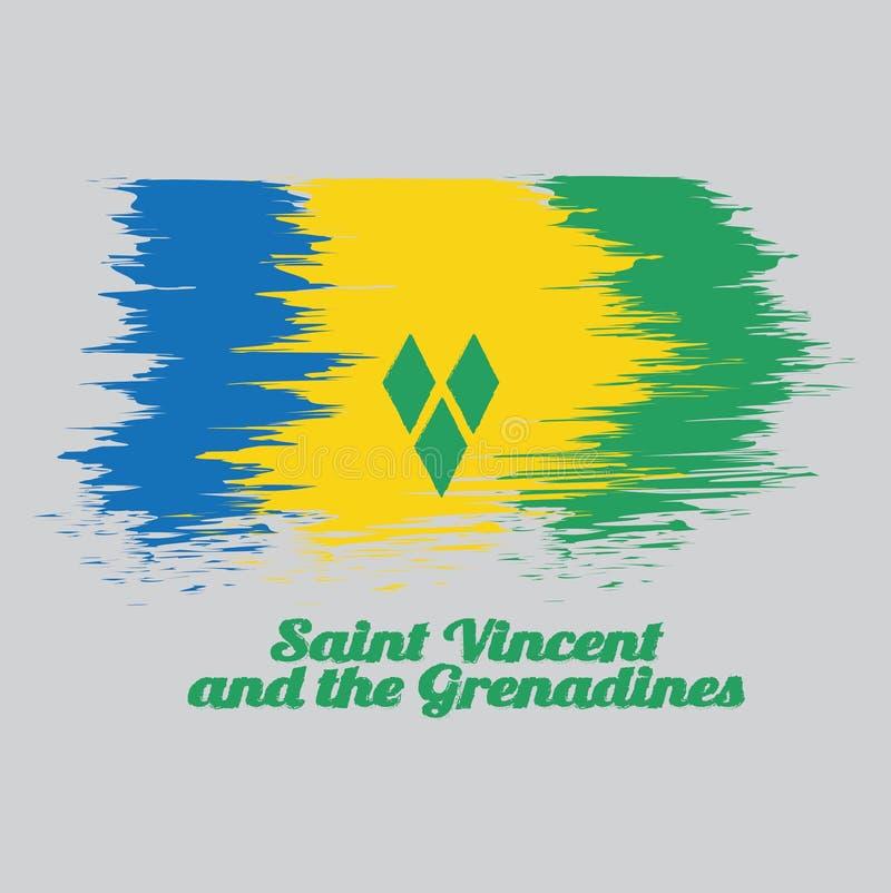 De de kleurenvlag van de borstelstijl van Heilige Vincent, blauw goud en groen met drie groene diamanten schikte in V royalty-vrije illustratie