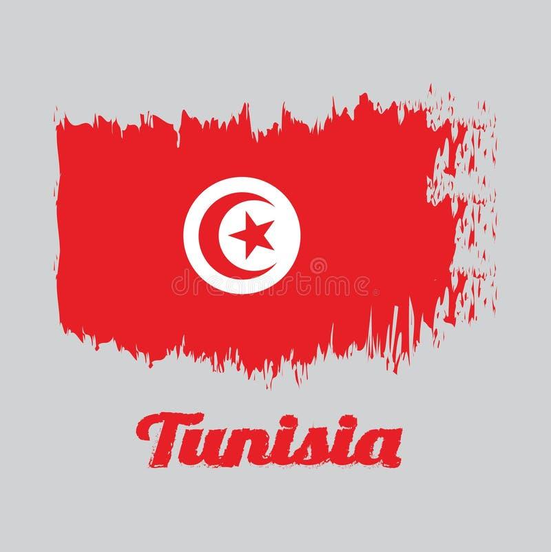 De kleurenvlag van de borstelstijl van Tunesië, rood en witte vlag met ster en halve maan in centrum vector illustratie