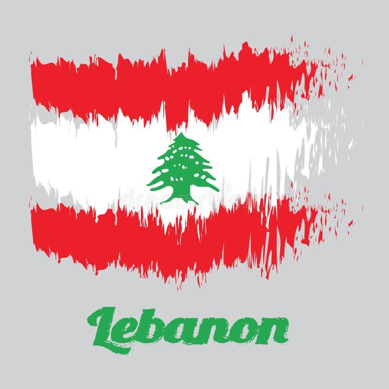 De kleurenvlag van de borstelstijl van de Vlag van Libanon, triband van rood en wit, met een groene Ceder die van Libanon wordt b royalty-vrije illustratie