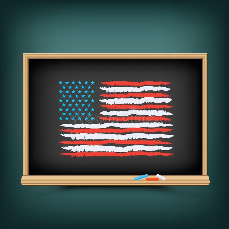 De de kleurenvlag van de V.S. trekt op schoolbord vector illustratie