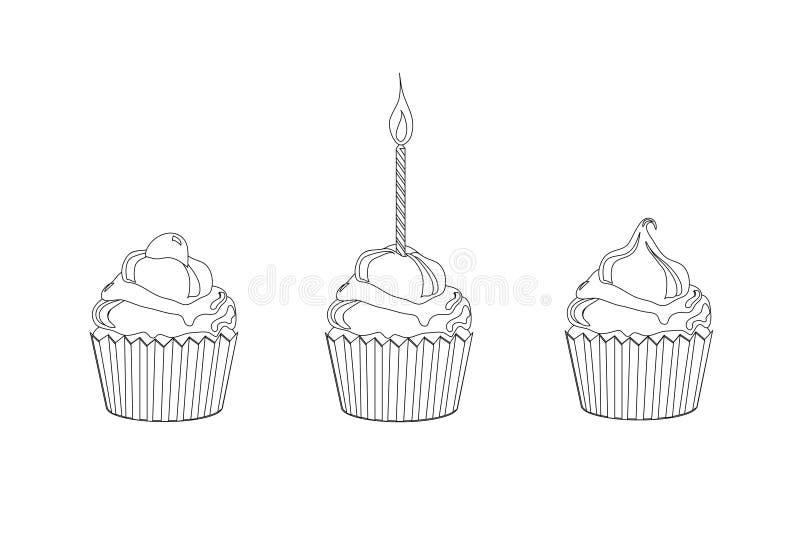 De kleuringspagina van Cupcake stock illustratie