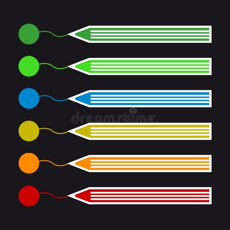 De kleurpotloden trekken Lijnen - Kleurrijke Vectorpictogramreeks vector illustratie