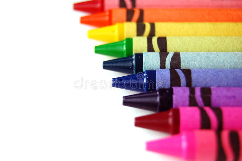 De Kleurpotloden van de regenboog stock foto's