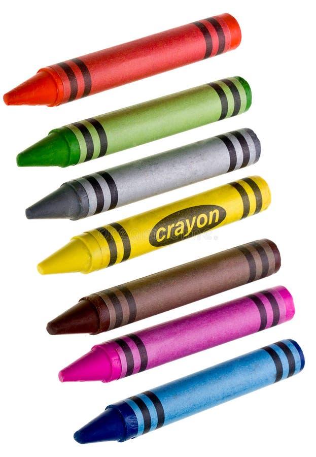 De Kleurpotloden van de was op wit stock afbeelding