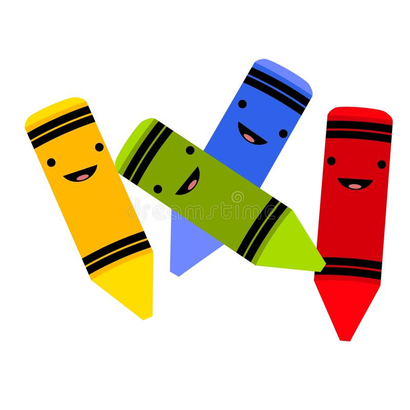 De Kleurpotloden van het Gezicht van Smiley vector illustratie