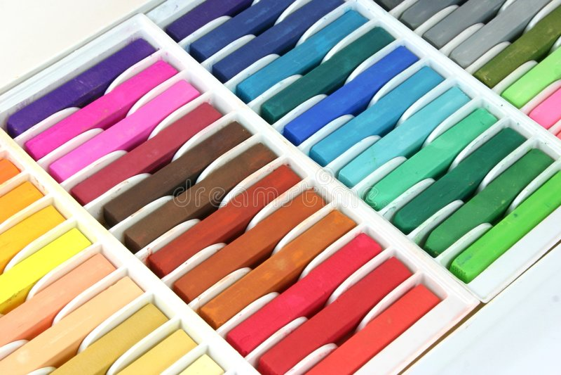 De Kleurpotloden van het Krijt van de pastelkleur royalty-vrije stock afbeeldingen
