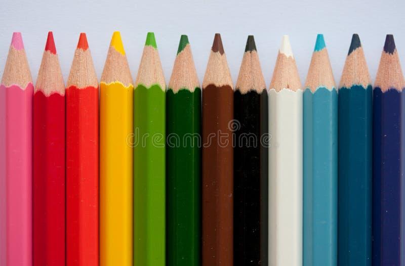 De kleurpotloden van het potlood stock foto's