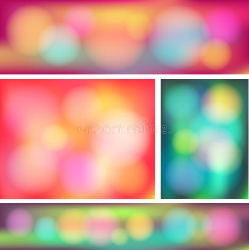 De kleurrijke abstracte inzameling van de bokehbanner plaatste (vec royalty-vrije illustratie