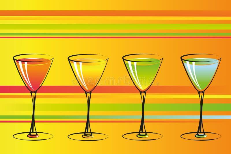 De kleurrijke achtergrond van de cocktailspartij stock illustratie