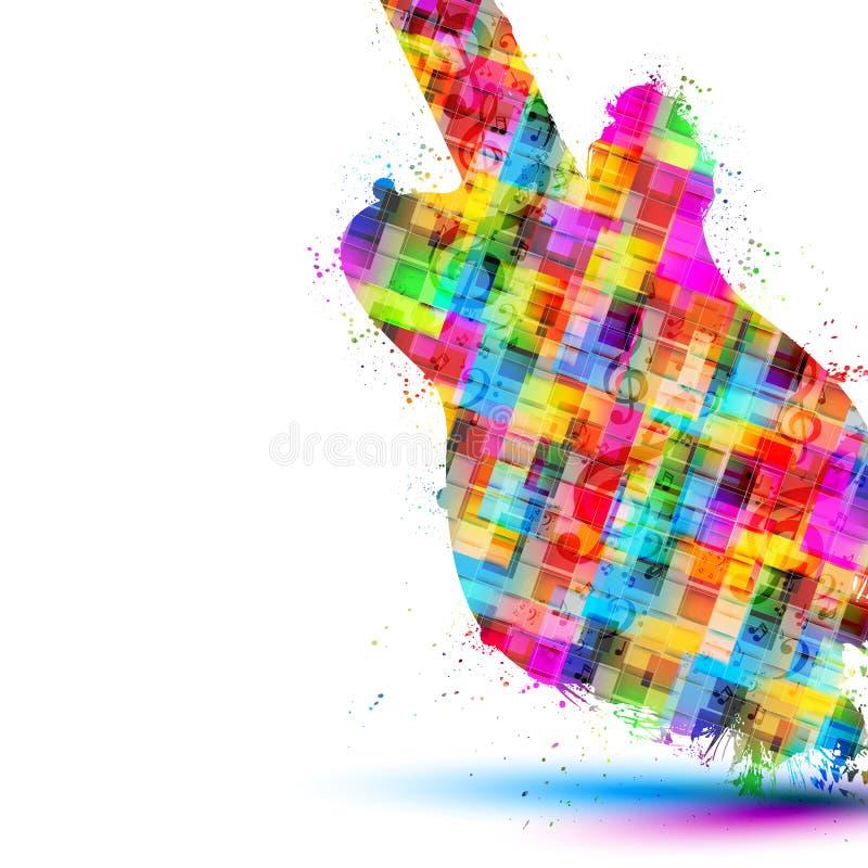 De kleurrijke achtergrond van de muziekgitaar royalty-vrije illustratie