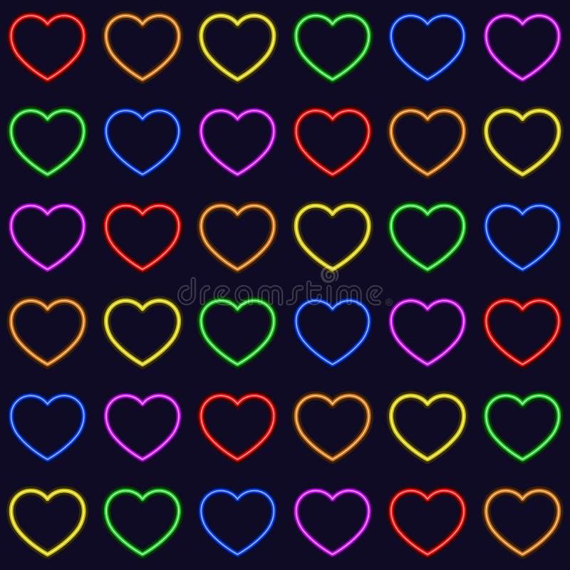De kleurrijke achtergrond van de het patroontextuur van regenboogharten naadloze herhaalde vector royalty-vrije illustratie