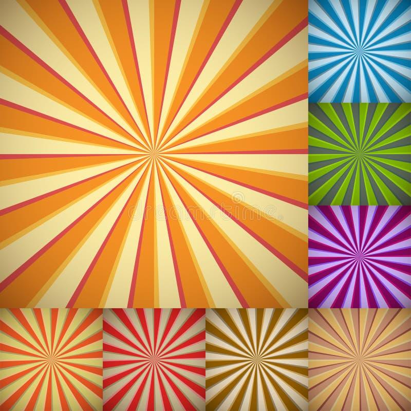 De kleurrijke achtergronden van de zonnestraal royalty-vrije illustratie
