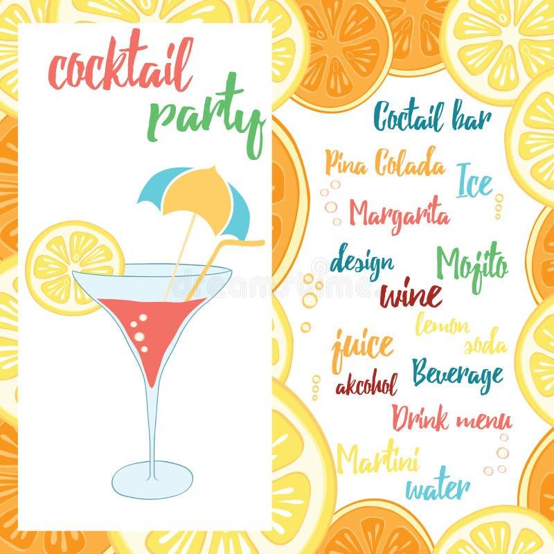 De kleurrijke affiche van de Strandbar met een cocktail met sinaasappel Het ontwerp van de de zomerbanner voor cocktail party royalty-vrije illustratie