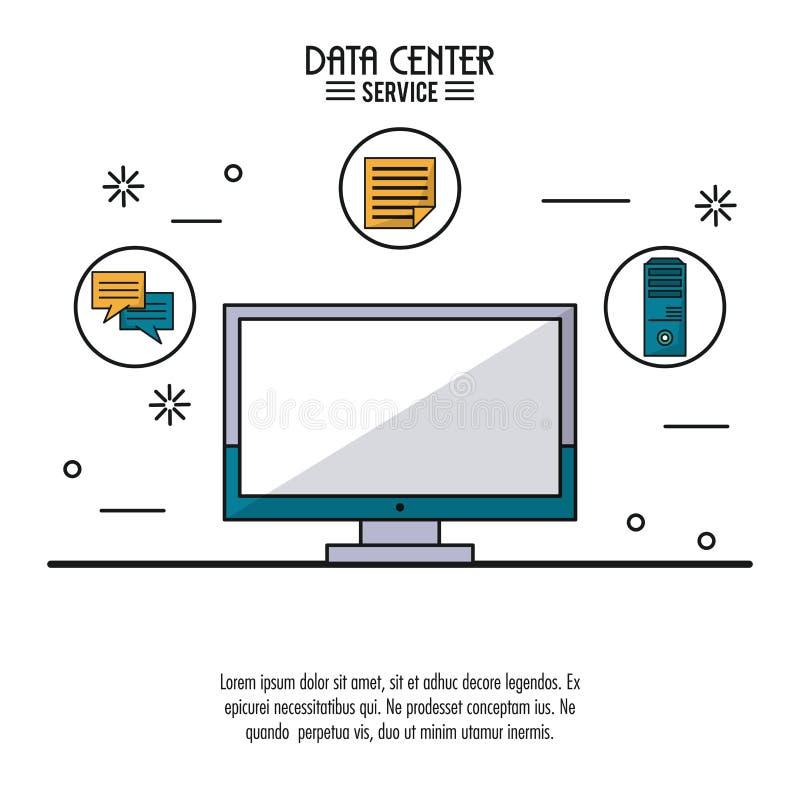 De kleurrijke affiche van gegevens centreert de dienst met lcd monitor en hulpmiddelenpictogrammen op bovenkant stock illustratie