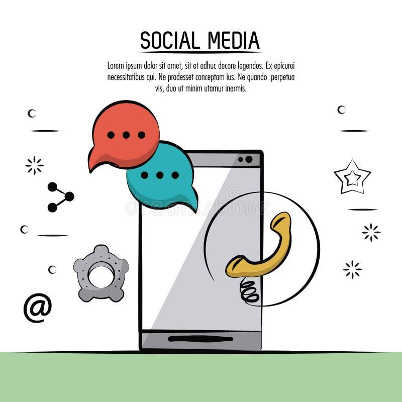 De kleurrijke affiche van sociale media met pictogrammentoespraak borrelt montagesembleem en telefoon met smartphone in achterkan royalty-vrije illustratie