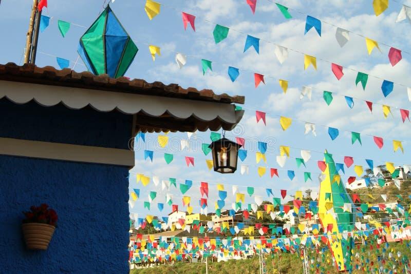 De kleurrijke ballons en vlaggenpartij van het land stock foto