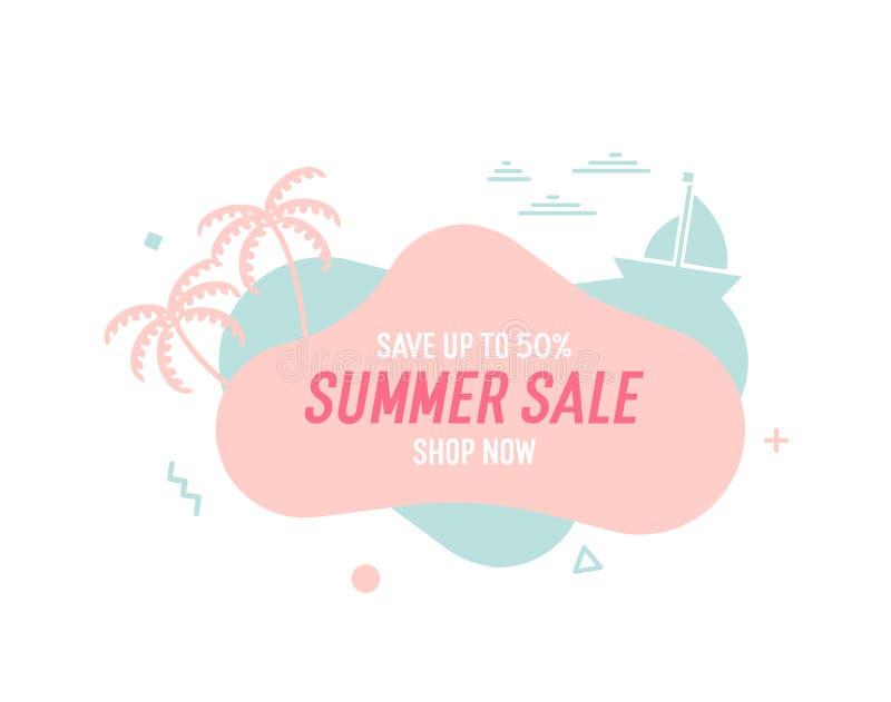 De in kleurrijke banner van de de zomerverkoop met palmtrees, boot en golven Vector geometrische malplaatje vloeibare en golvende royalty-vrije illustratie