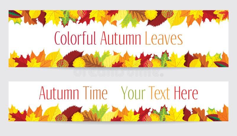 De kleurrijke banners van de herfstbladeren royalty-vrije illustratie