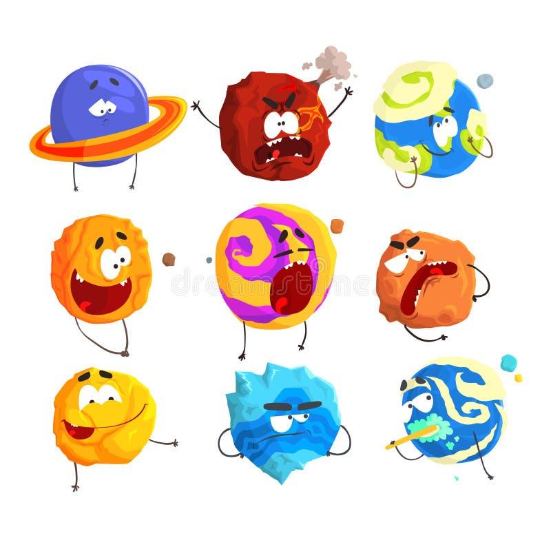 De kleurrijke beeldverhaalplaneten met grappige gezichten en verschillende emoties plaatsen voor etiketontwerp Gedetailleerde vec vector illustratie