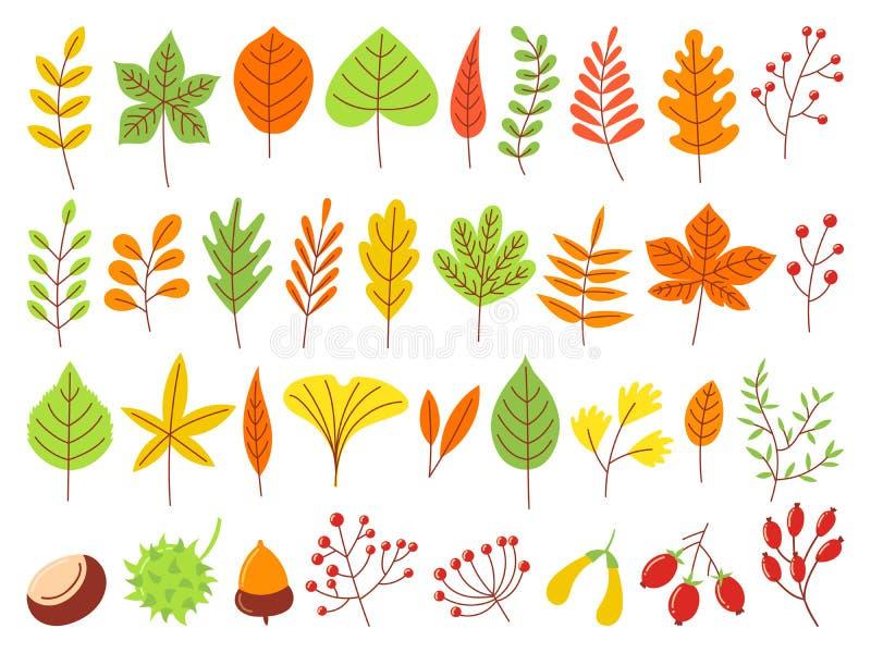 De kleurrijke Bladeren van de Herfst Het herfst gele blad, het bosaard oranje leafage en september-rood verlaten vlakke vectorree stock illustratie